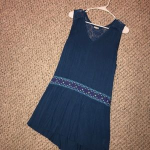 Blue lace back boutique dress